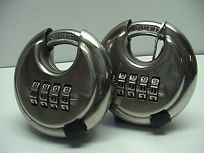 2 (TWO) Stainless Discus Combination Disc Locks 2 3/4 Brand New Sealed Packages