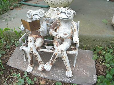 Vintage Cast Iron Frogs With Glasses Sitting on Bench Reading & w/ Coffee Cup