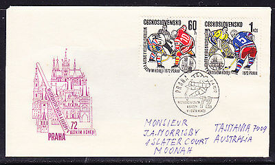 Czech 1972 Ice Hockey Championships First Day Cover - Addressed Tasmania