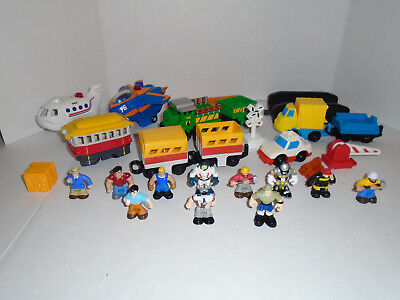 Lot of Fisher Price GEO TRAX Airplanes Train Cars People Accessories
