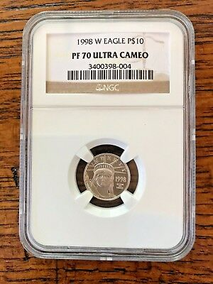 1998-W PF 70 $10 Statue of Liberty - Eagle Platinum Coin NGC Stunning