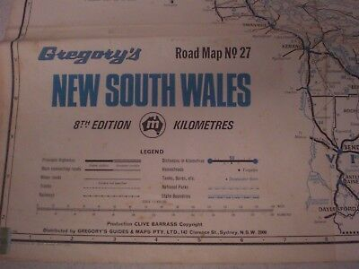 GREGORY'S NEW SOUTH WALES LARGE FOLD-OUT ROAD MAP # 27  8th Edition Aust