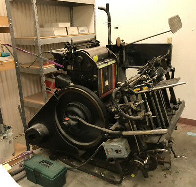 "HEIDELBERG Windmill Letterpress, 10 x 15"" With Steel Imposing Table Furn Storage"