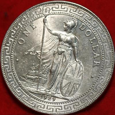 Uncirculated 1929-B Great Britain Trade Dollar Silver Foreign Coin Free S/H