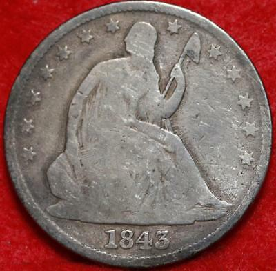 1843 Philadelphia Mint Silver Seated Liberty Half Dollar Free S/H