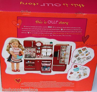 New American Girl Our Generation Journey 18 Doll Kitchen Food Fridge Baking Oven