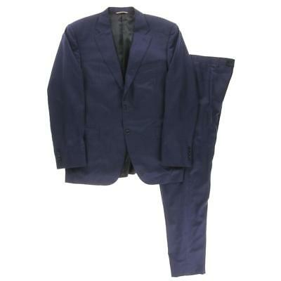 Canali 8988 Mens Blue Wool Notch Lapel Formal Two-Button Suit 46R BHFO