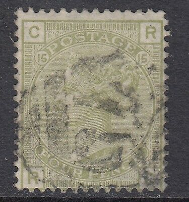 GREAT BRITAIN 1877 4d SAGE-GREEN QUEEN VICTORIA, USED