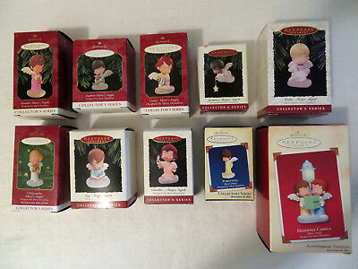Vtg Lot of 10 Hallmark Mary's Angels Christmas Ornaments and Anniversary Edition