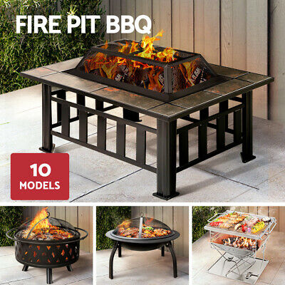 Grillz Outdoor Fire Pit BBQ Table Grill Garden Patio Fireplace Brazier