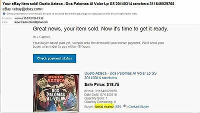 To Complete Shipping From Mexico to US Dueto Azteca - Dos Palomas Al Volar Lp SS