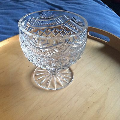 "Tyrone Crystal FOOTED BOWL 5.5"" Tall Cut Unknown Stamped - VGC NO BOX."