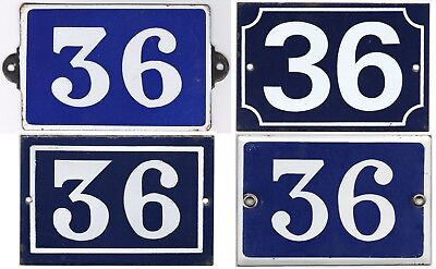 Old blue French house number 36 door gate wall fence street sign plate plaque
