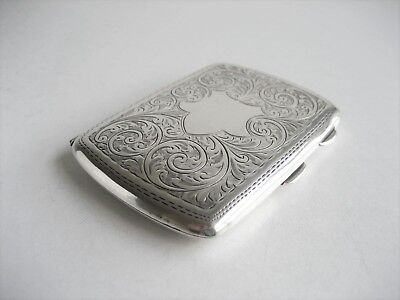 Solid Sterling Silver Floral Cigarette Case Birmingham 1919 Pringle