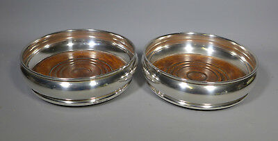 Pair Of Hallmarked Sterling Silver & Wood Bottle Decanter Coasters London 1975