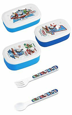 Thomas and Friends - Three Thomas Lunch Bento Boxes with Thomas Spoon and Fork