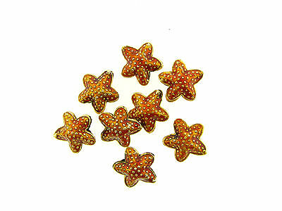 Gold Plate Brass Cloisonné Puffy 3 D Light Brown Textured Starfish Bead Lot 8 pc