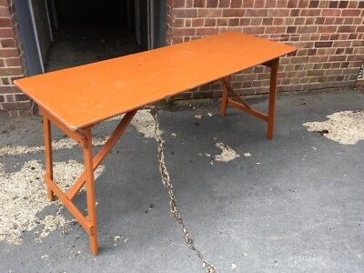 Vintage Industrial Trestle Table Folding Shabby chic Work Table Rustic.