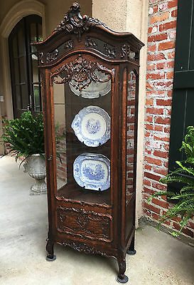 Antique French Carved Oak Vitrine Glass Display China Cabinet Louis XV Bookcase