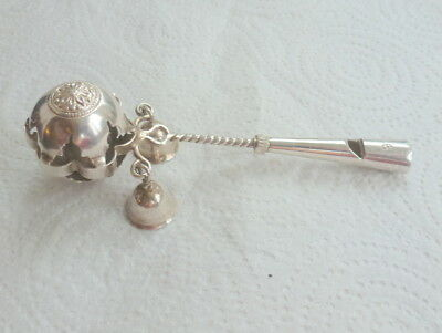 UNUSUAL EASTERN / PERSIAN ANTIQUE c1900 SOLID BABIES SILVER  RATTLE & WHISTLE