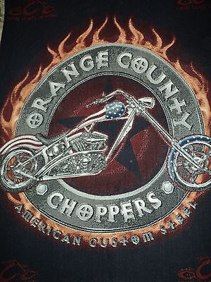 Orange County Choppers.motorcycle.woven Afghan.throw.blanket.tapestry.flames.