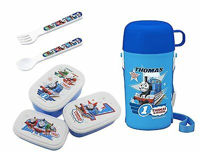 Thomas the Tank Engine Lunch Set – 3 Lunch Bento Boxes, Thermos with Cup, Spoon