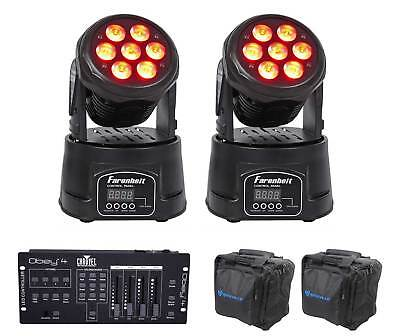 2) FARENHEIT FH710MH RGBWY Moving Head Club Stage Lights+Chauvet Controller+Bags
