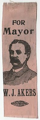 1893 WILLIAM AKERS Cleveland Ohio Mayor POLITICAL Campaign RIBBON OH W J
