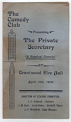 1909 THE PRIVATE SECRETARY Program GRANTWOOD FIRE HALL Comedy CHARLES HAWTREY