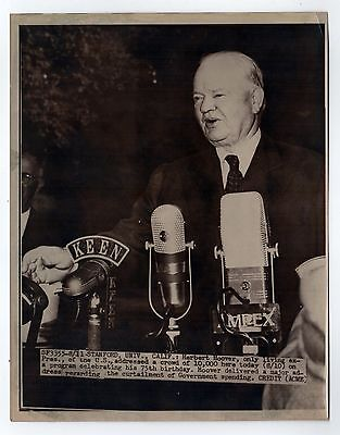1949 PRESIDENT HERBERT HOOVER Press Photograph PHOTO 75th Birthday STANFORD UNIV