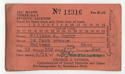 1947 MAINE FISHING LICENSE Permit FISH Fisheries VINTAGE Antique NEW ENGLAND