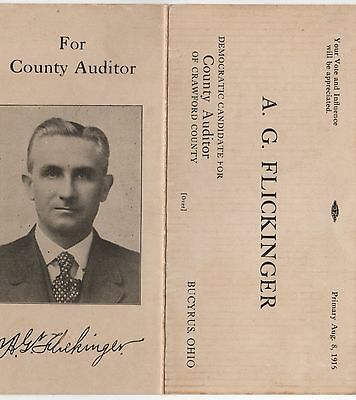 1915 BUCYRUS OHIO Political Pamphlet FLICKINGER County Auditor CRAWFORD COUNTY