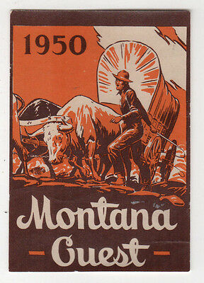 1950 MONTANA GUEST Travel DECAL Sticker TOURISM Wagon WESTERN Cowboy BIG SKY