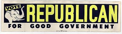 1960s REPUBLICAN PARTY Vote POLITICAL Bumper Sticker GOP Massachusetts BOSTON
