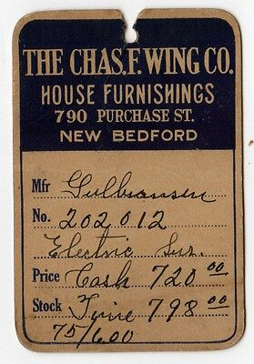 1920s CHARLES F WING House HOME Furnishings NEW BEDFORD MASSACHUSETTS Price Tag