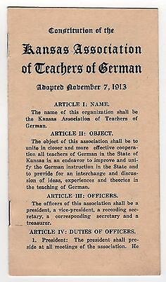 1913 CONSTITUTION Kansas Association German Teachers LANGUAGE Germany KS City