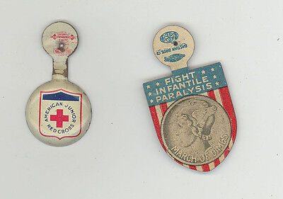 TWO VINTAGE TABS American Junior Red Cross MARCH OF DIMES Infantile Paralysis