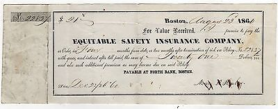 1860 EQUITABLE SAFETY INSURANCE COMPANY Boston Massachusetts INVOICE Bill
