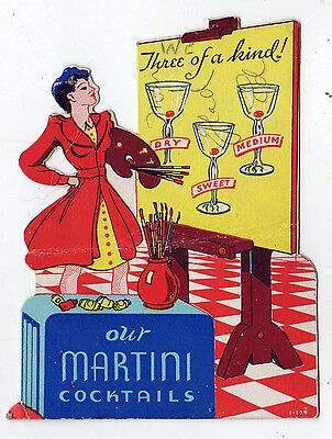 1940s ALCOHOL Liquor Advertising Card MARTINI Drink COCKTAIL Advertisement DRY
