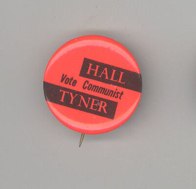 GUS HALL Jarvis Tyner POLITICAL Pinback PIN Button BADGE COMMUNIST Party COMMIE