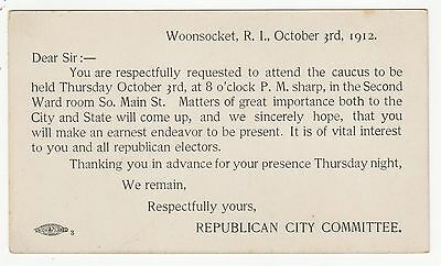 1912 WOONSOCKET RHODE ISLAND Political Postcard RI Republican City Committee