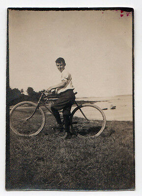 ANTIQUE BICYCLE Bike PHOTOGRAPH Photo 1920s KID Transportation ORIGINAL Water