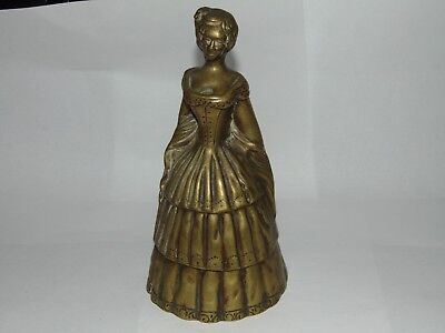 GREAT LARGE TALL ORIGINAL VINTAGE HEAVY SOLID BRASS LADY BELL in CRINOLINE DRESS