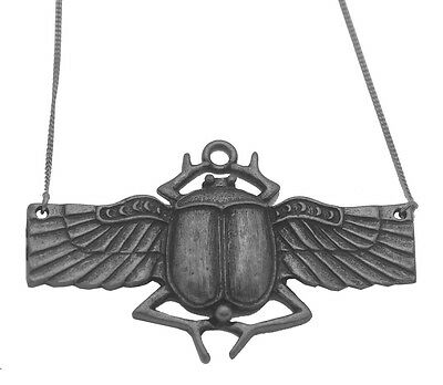 """LOOK Sacred Egypt Scarab Beetle Sterling Silver pendant charm with 18"""" necklace"""