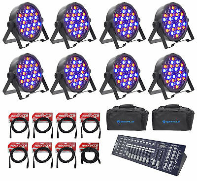 8 FARENHEIT FHB-154 LED RGBWY DMX LED PAR Can Wash Lights+Controller+Cables+Bags