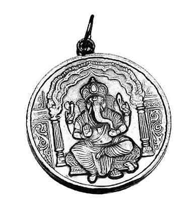 LOOK Graceful Ganesh Hindu White gold plated Pendant India