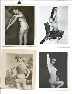 """Four (4) Original 4"""" x 5"""" Photographs of a Lovely Nude Ladiy Topless, Rear View"""