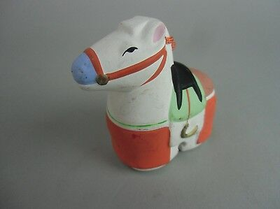 DR148 Japanese Clay Bell Pottery Horse Lucky charm Hand painted Vtg Dorei