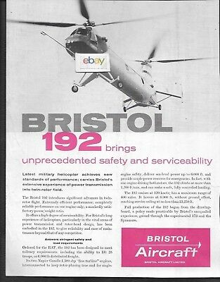 Bristol Aircraft Type 192 Military Helicopter For Raf Ad