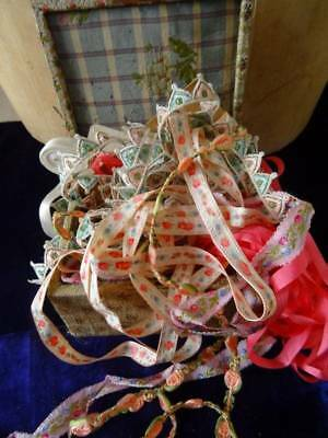 A Beautiful Antique French Lyon Silk Brocade Box Filled with Pretty Ribbons